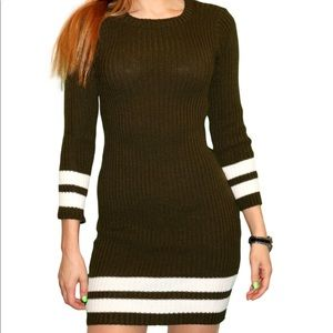 Knit Sweater Dress | Green With stripes